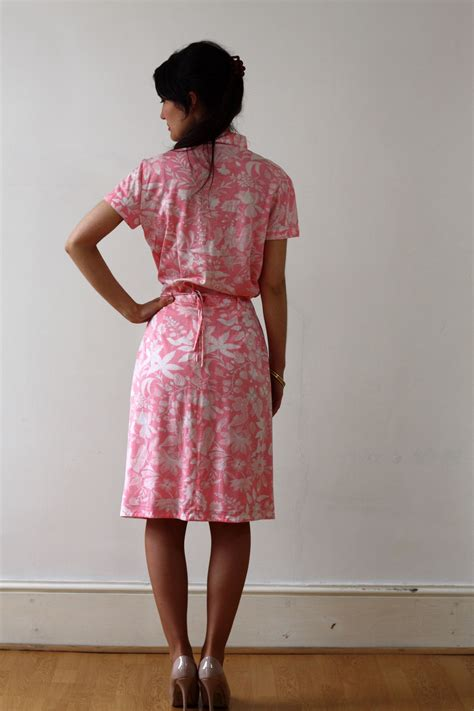 Skirt Flower Co914 Bj miniola vintage 1970s floral pink matching cotton skirt