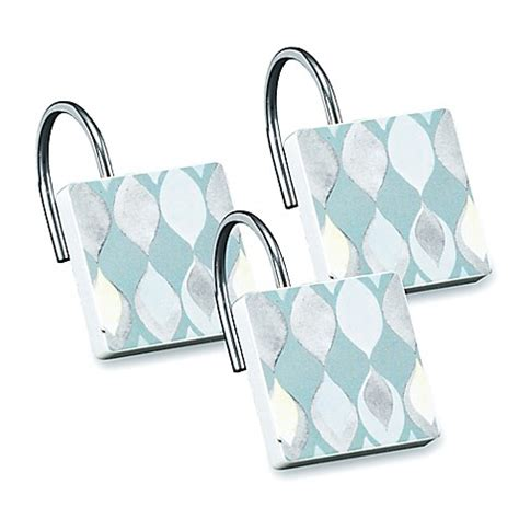 teal shower curtain hooks shell rummel sea glass shower curtain hook in teal set of