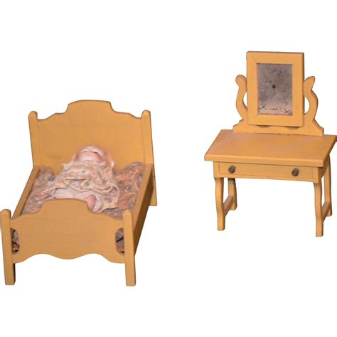 Old Miniature Doll Dollhouse Wood Furniture Bedroom Set Doll Bedroom Furniture