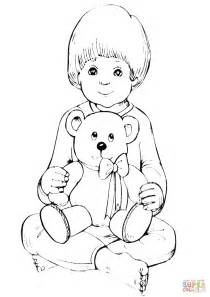teddy bear in pajamas coloring page boy with teddy bear coloring page free printable