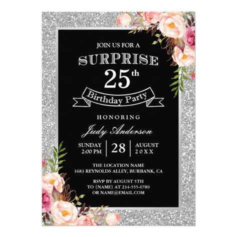 25th birthday card templates personalized 25th birthday invitations