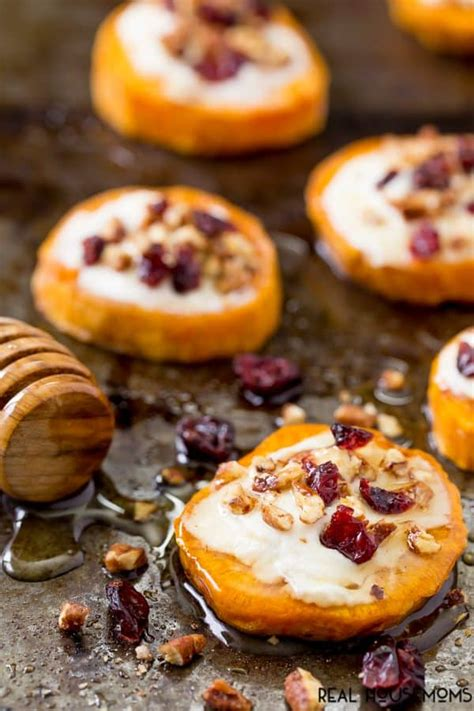 Real Sweet Cheese sweet potato rounds with goat cheese real housemoms