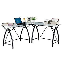 Mezza L Shaped Desk Realspace Alluna Collection Glass L Shape Desk Black Framefrosted Glass By Office Depot Officemax