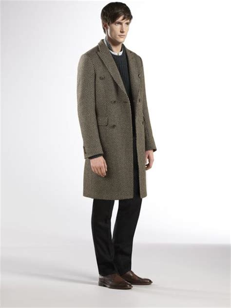 Gucci Overcoat gucci breasted overcoat in brown for green lyst