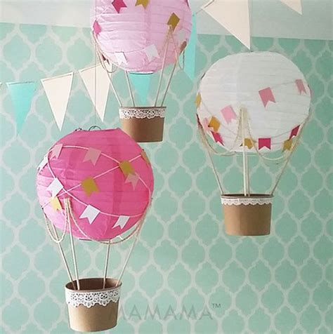 whimsical air balloon decoration diy kit pink