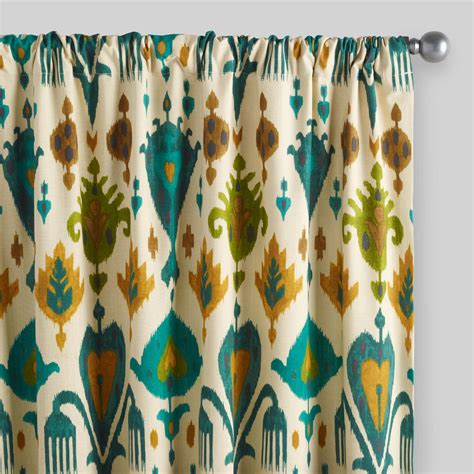 Teal Patterned Curtains Gold And Teal Ikat Aberdeen Cotton Curtains Set Of 2 World Market