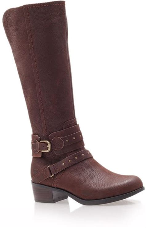 brown leather ugg boots ugg brown esplanade leather kneehigh boots in brown