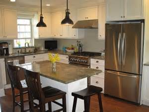 Small Kitchen Island Designs With Seating Black Pendant Lamp And Grey Countertop For Classic Kitchen
