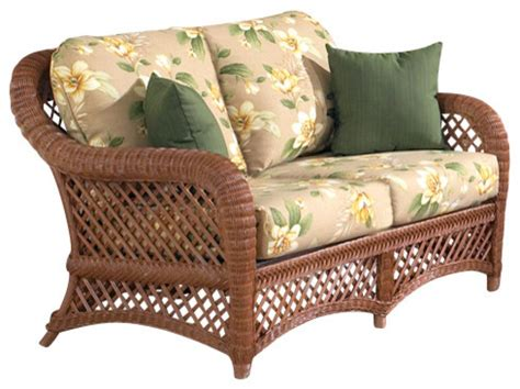tropical couch brown wicker furniture lanai loveseat tropical