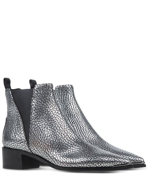 acne ankle boots in silver lyst