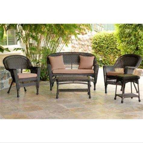 5 piece espresso resin wicker patio chair loveseat