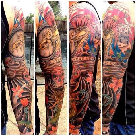 sleeve ink tattoo arm color tattoo mermaid saint