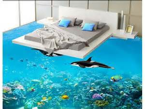 Cool 3d flooring for bedroom with dolphins swimming around