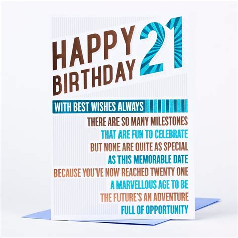 Birthday Cards 21 Years 21st Birthday Card Happy Birthday 21 Only 89p