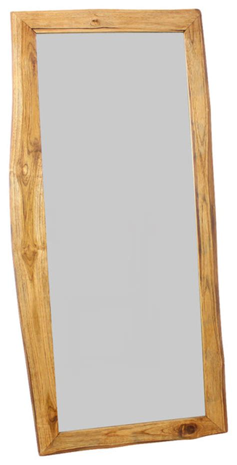 Natural Edge Farmed Teak Mirror Tropical Bathroom Mirrors Other Metro By