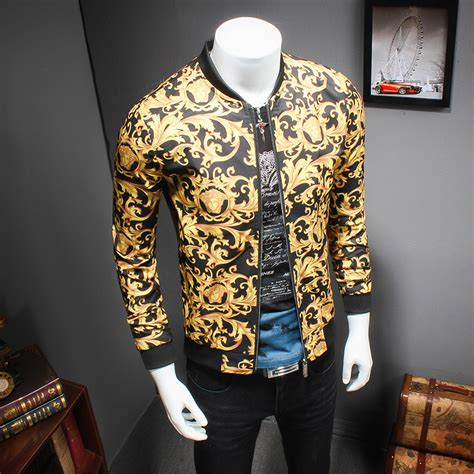2017 gold printing jacket mens luxury baroque bomber
