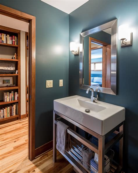 modern powder room vanity bathroom sink vanity powder room contemporary with doorway hallway slate blue beeyoutifullife