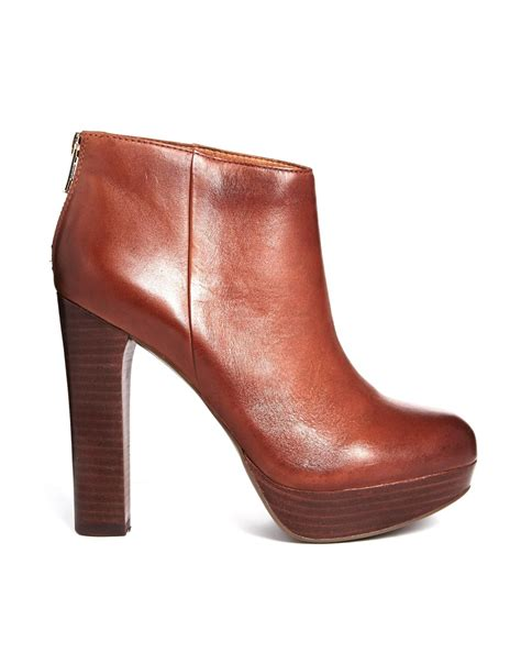 aldos boots lyst aldo maccallum leather heeled ankle boots in brown