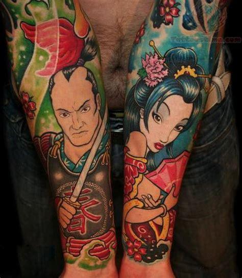 tattoo cartoon japan fantasy cartoon style colored forearms tattoo of asian
