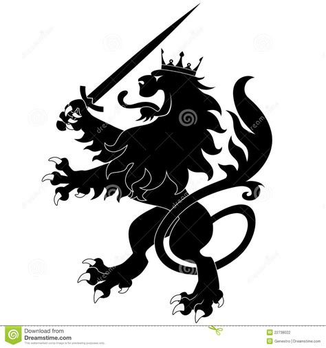 heraldic lion with sword stock vector image of animal
