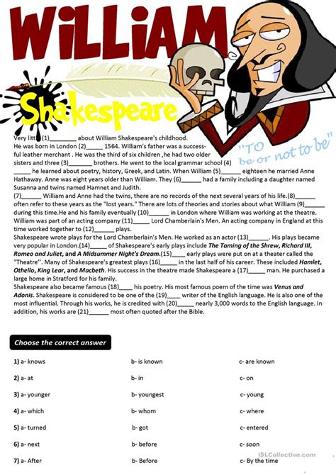 shakespeare biography for elementary students 30 free esl shakespeare worksheets