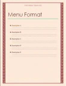 Menu Templates Free by Free Menu Template Free Microsoft Word Templates Free