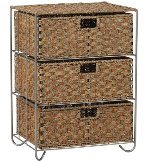 Chest With Wicker Basket Drawers by 3 Drawer Wicker Storage Chest In Wicker Baskets