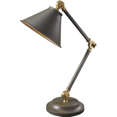 small grey desk l with adjsutable and angled arms