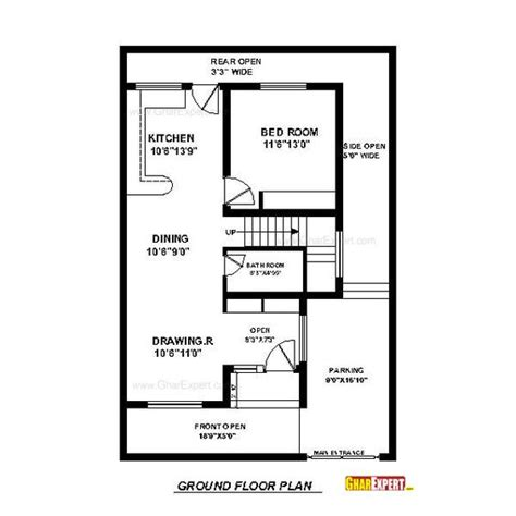 square feet into gaj house plan for 30 feet by 45 feet plot plot size 150