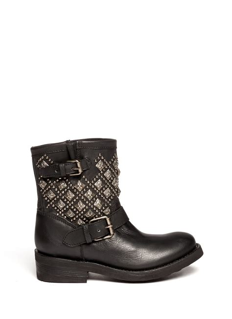 studded boots ash tsar studded leather boots in black lyst