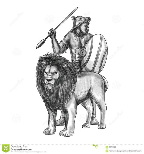 zulu tattoo prices african warrior spear lion tattoo stock illustration