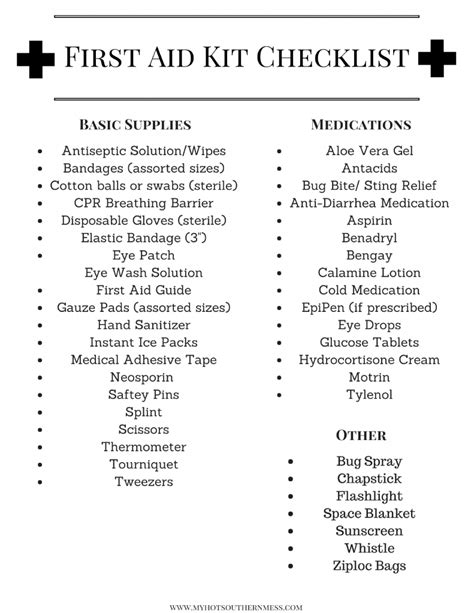 Diy First Aid Kit For Active Families My Hot Southern Mess Aid Kit Checklist Template