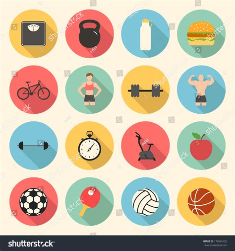 flat design icon video fitness sport health colorful flat design stock vector