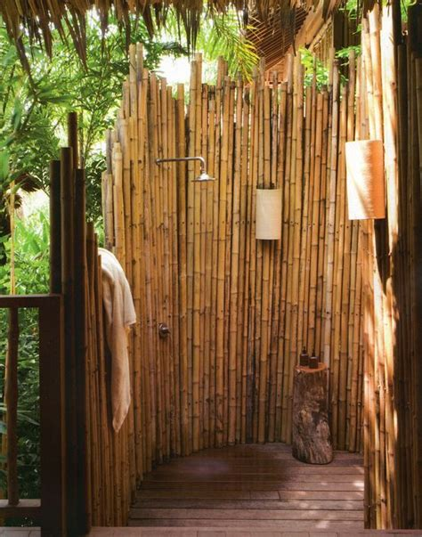 outdoor bamboo shower 18 tropical and outdoor shower ideas small house