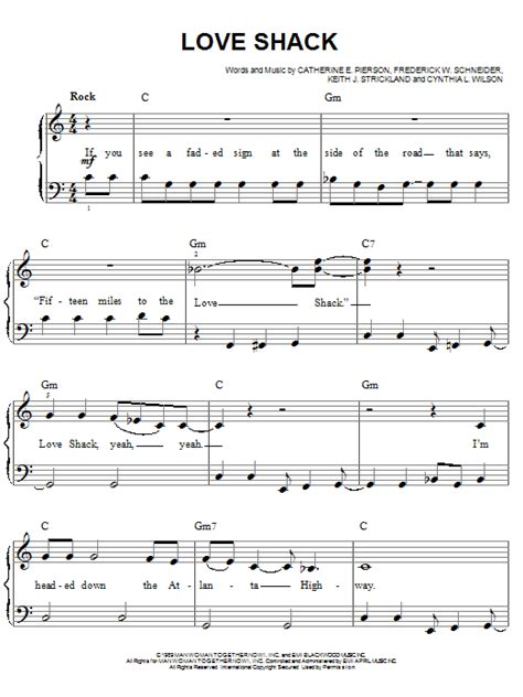 printable lyrics to love shack love shack sheet music direct
