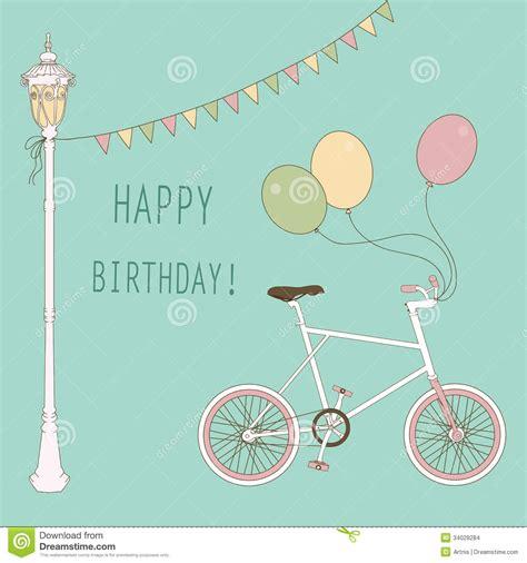 imagenes vintage happy birthday tarjeta linda con los globos y la bicicleta ilustraci 243 n
