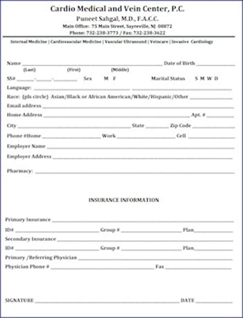 Cardio Medical And Vein Center 732 238 3773 Patient Profile Template
