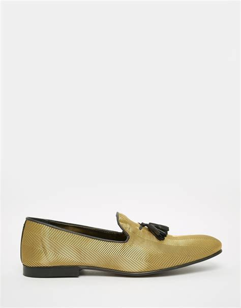 gold tassel loafers asos tassel loafers in in metallic for lyst