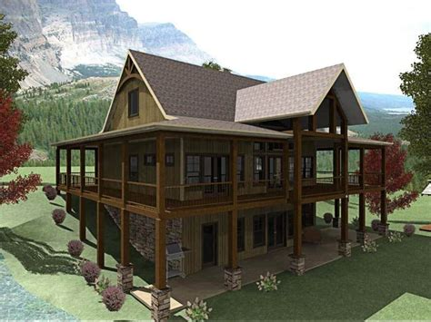 mountain home plans with walkout basement 3 bedroom open floor plan with wraparound porch and