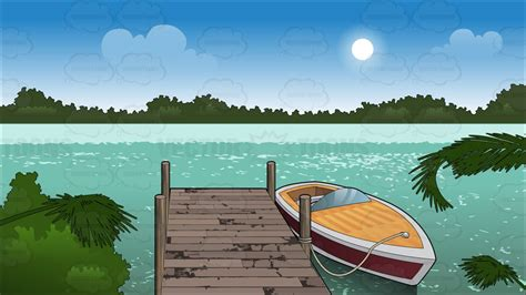 free clipart boat dock a boat tied up to a dock background cartoon clipart