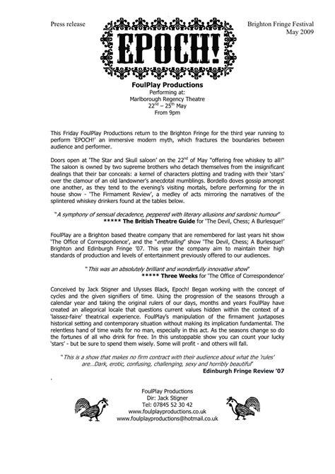press release brighton fringe festival 1 stigner