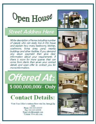 free open house flyer template sle open house flyer template formal word templates