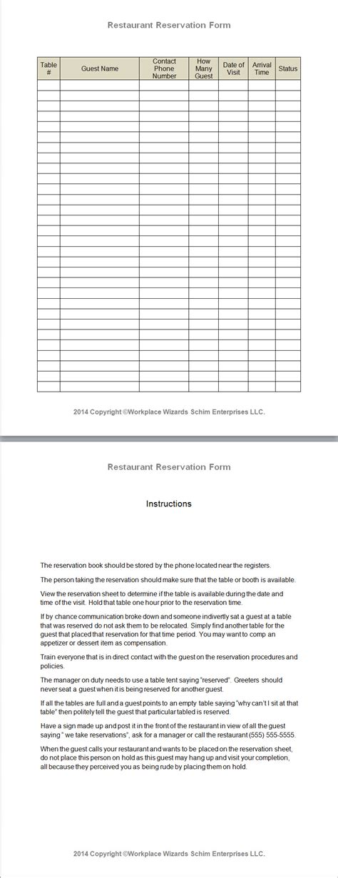 restaurant reservation sheet template restaurant reservation form workplace wizards new
