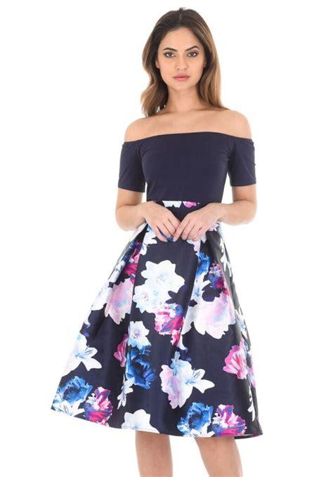 Murah Midi Dress floral the shoulder skater dress