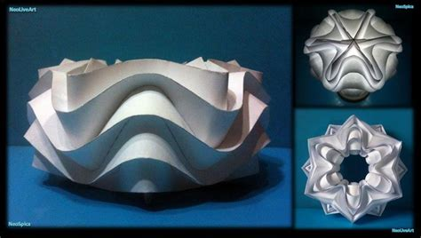 origami wave tutorial curved folding paper ball cylinder star no tutorial