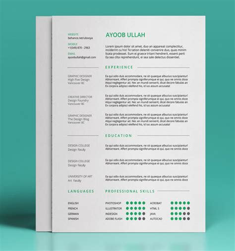 cv design templates free 50 beautiful free resume cv templates in ai indesign