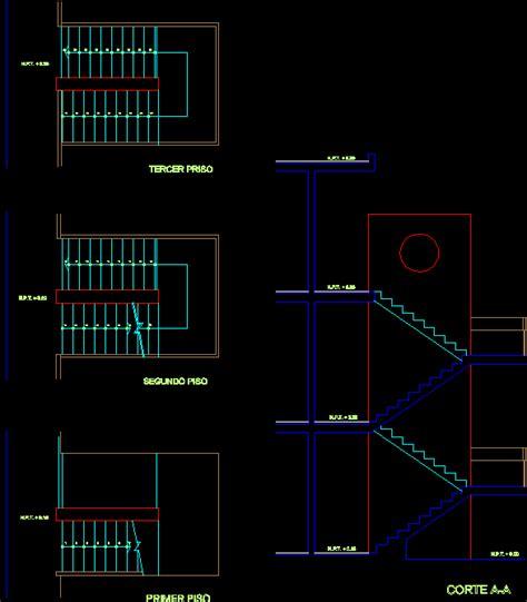 dibujar planos 2d escalera 2d en dibujo de autocad bibliocad