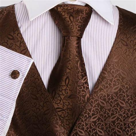 brown patterned vests special offermens designer brown patterned tuxedo vest set