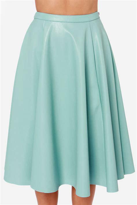 light blue skirt vegan leather skirt midi skirt