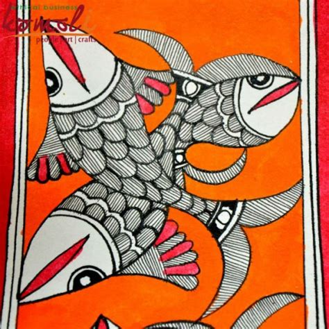 Black And White Home Decor twin linedrawing fishes on orange backdrop madhubani